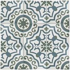 "Hydraulic 9.5"" x 9.5"" Porcelain Patterned/Field Tile in Gray/Blue"