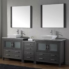 Frausto 83 Double Bathroom Vanity Set with White Marble Top and Mirror by Brayden Studio