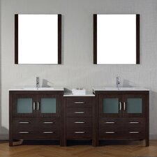 Frausto 82 Double Bathroom Vanity Set with Ceramic Top and Mirror by Brayden Studio