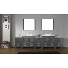 Frausto 117 Double Bathroom Vanity Set with White Marble Top and Mirror by Brayden Studio