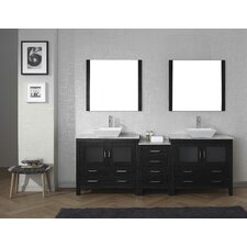 Frausto 91 Double Bathroom Vanity Set with White Marble Top and Mirror by Brayden Studio