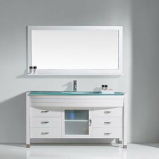 "Frausto 61"" Single Bathroom Vanity Set with Clear Top and Mirror"
