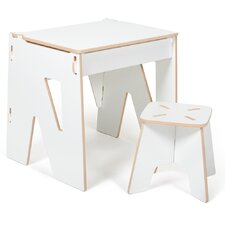 """Halle 20.75"""" Writing Desk with Stool and Hutch"""