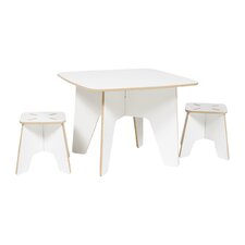 Halle Kids 3 Piece Square Table & Stool Set
