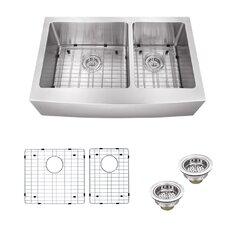 "35.875"" x 20.75"" Double Bowl Farmhouse/Apron Kitchen Sink"