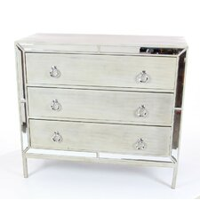 Eris Wood Mirror 3 Drawer Accent Chest by Everly Quinn
