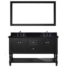 Julianna 60 Double Bathroom Vanity Set with Mirror by Virtu USA