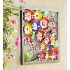 Metal Framed Floral Wall Décor