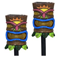 Tiki Face Plant Solar Garden Stake (Set of 2)