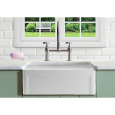 "Olde London Reversible 33"" x 18"" Farmhouse Kitchen Sink with Grid"