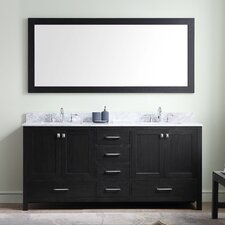 Stoneham 72 Double Bathroom Vanity Set with White marble and Mirror by Latitude Run