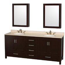Sheffield 80 Double Espresso Bathroom Vanity Set with Medicine Cabinets by Wyndham Collection