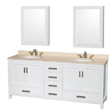 Sheffield 80 Double White Bathroom Vanity Set with Medicine Cabinets by Wyndham Collection