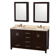 Sheffield 60 Double Espresso Bathroom Vanity Set with Medicine Cabinet by Wyndham Collection