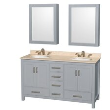 Sheffield 60 Double Gray Bathroom Vanity Set with Medicine Cabinet by Wyndham Collection