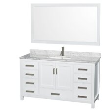 Sheffield 60 Single White Bathroom Vanity Set with Mirror by Wyndham Collection