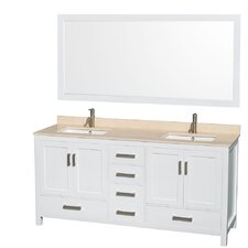Sheffield 72 Double White Bathroom Vanity Set with Mirror by Wyndham Collection
