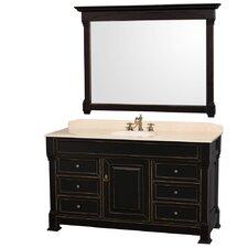 Andover 60 Single Black Bathroom Vanity Set with Mirror by Wyndham Collection