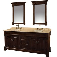 Andover 72 Double Dark Cherry Bathroom Vanity Set with Mirror by Wyndham Collection
