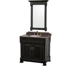 Andover 36 Single Black Bathroom Vanity Set with Mirror by Wyndham Collection