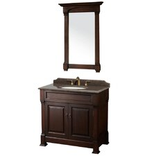 Andover 36 Single Dark Cherry Bathroom Vanity Set with Mirror by Wyndham Collection