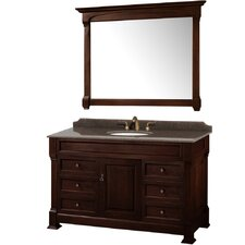 Andover 55 Single Dark Cherry Bathroom Vanity Set with Mirror by Wyndham Collection