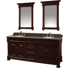 Andover 72 Double Dark Cherry Bathroom Vanity Set with Mirror by Wyndham Collection