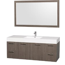 Amare 60 Single Gray Oak Bathroom Vanity Set with Mirror by Wyndham Collection