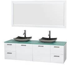 Amare 72 Double White Bathroom Vanity Set with Mirror by Wyndham Collection
