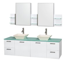 Amare 72 Double White Bathroom Vanity Set with Medicine Cabinet by Wyndham Collection
