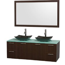 Amare 60 Double Espresso Bathroom Vanity Set with Mirror by Wyndham Collection