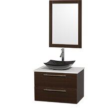 Amare 30 Single Espresso Bathroom Vanity Set with Mirror by Wyndham Collection