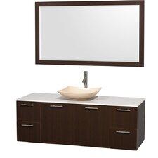 Amare 60 Single Espresso Bathroom Vanity Set with Mirror by Wyndham Collection