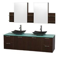 Amare 72 Double Espresso Bathroom Vanity Set with Medicine Cabinet by Wyndham Collection