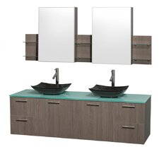 Amare 72 Double Gray Oak Bathroom Vanity Set with Medicine Cabinet by Wyndham Collection