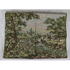 Men on Horses by the Riverbank Woven Tapestry