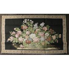 Flower Picnic Basket Background Woven Tapestry