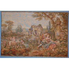Romantic Scenery with View of Mill Woven Tapestry