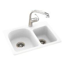 "25"" x 18"" Double Basin Drop-In Kitchen Sink"