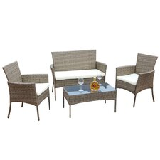 Sachem Wicker 4 Piece Lounge Sofa Seating Group with Cushion
