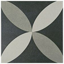 """Forties 7.75"""" x 7.75"""" Ceramic Patterned/Field Tile in Gray"""