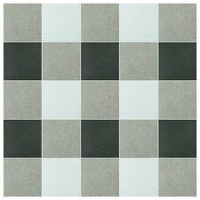 "Forties 7.75"" x 7.75"" Ceramic Field Tile in White/Gray"