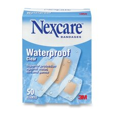 Bandages, Waterproof, 50 per Pack, Assorted Sizes, Clear