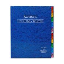 """Desk File/Sorter, Indexed 1-31, 12""""x10"""", Midnight Blue (Set of 24)"""