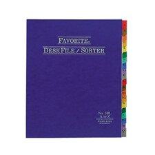 """Desk File/Sorter, Indexed A-Z, 12""""x10"""", Blue (Set of 24)"""