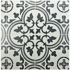 "Artea 9.75"" x 9.75"" Porcelain Patterned/Field Tile in Gray"