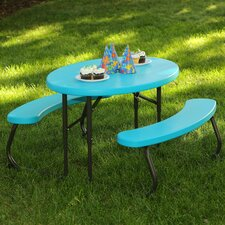 3 Piece Oval Picnic Table and Bench Set