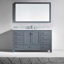 Stoneham 60 Single Bathroom Vanity Set with White and Mirror by Latitude Run