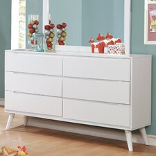 Polick Mid-Century Modern 6 Drawer Dresser