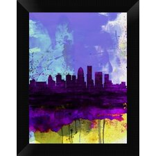 Louisville Watercolor Skyline' Framed Graphic Art Print on Canvas by Naxart